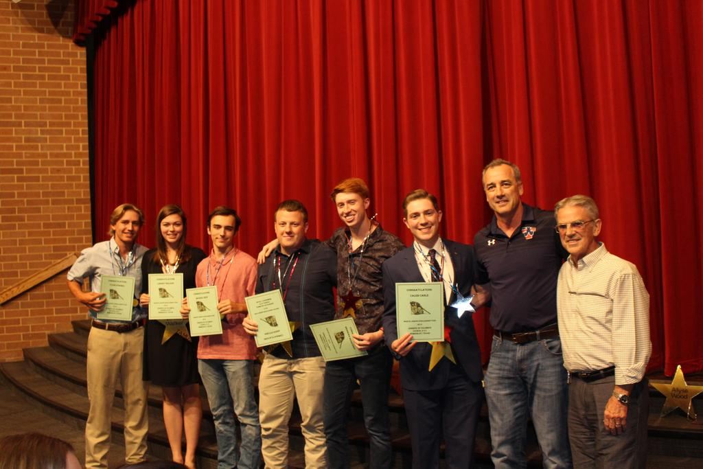 Marvin Joseph Memorial Scholarship L-R Tyler Strobel, Lindsey Walker, Michael Neff, Jarod Pitcher, Brendan Benavides Caleb Cable, with Thad Nance Past Grand Knight and Bill Kammerer, Grand Knight, Knights of Columbus Council 9151