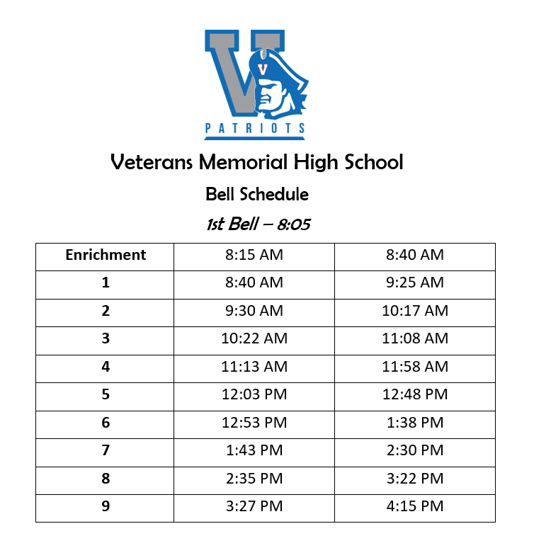 VMHS Bell Schedule Featured Photo