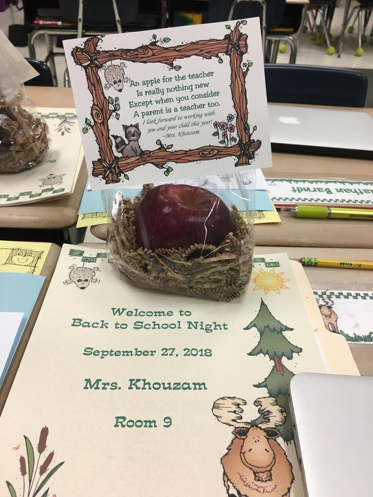 Back to School Night Booklet and apple