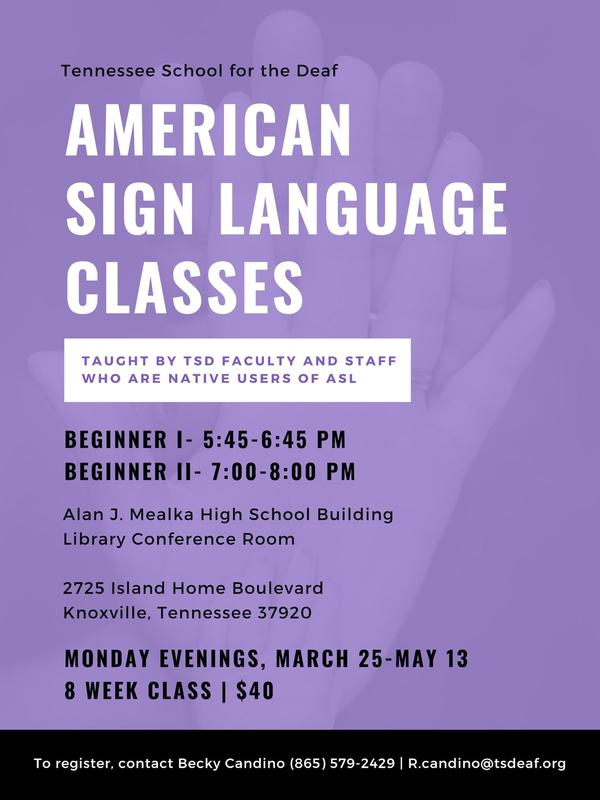 TSD-Knoxville ASL Class Flyer March-May, 2019