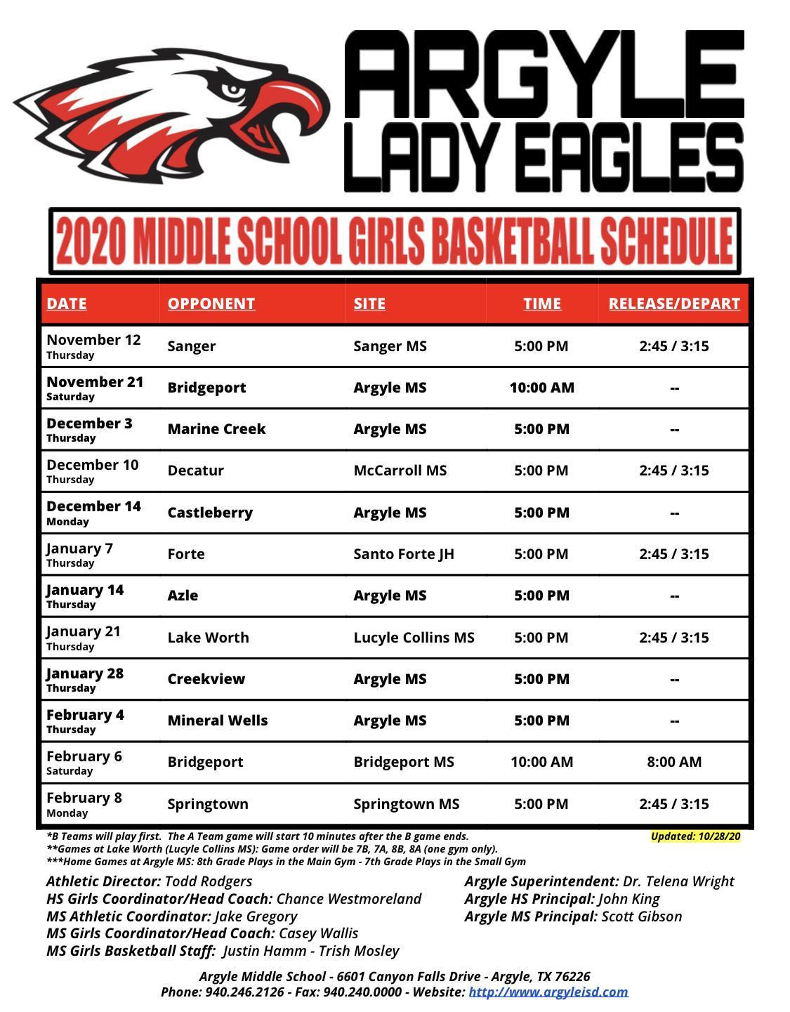 2020-2021 Argyle MS Girls Basketball Schedule - Updated 10-28-20
