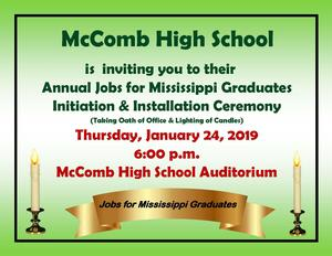 McComb High School Annual Jobs for Mississippi Graduates Invitation 2019