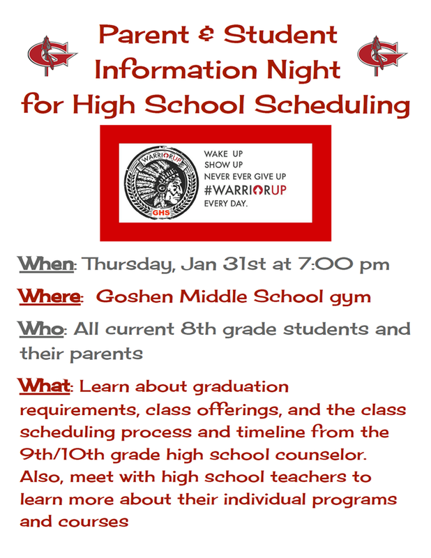 GMS 8th grade Parent Info Night has been rescheduled for next Thursday, January 31st at 7:00 p.m