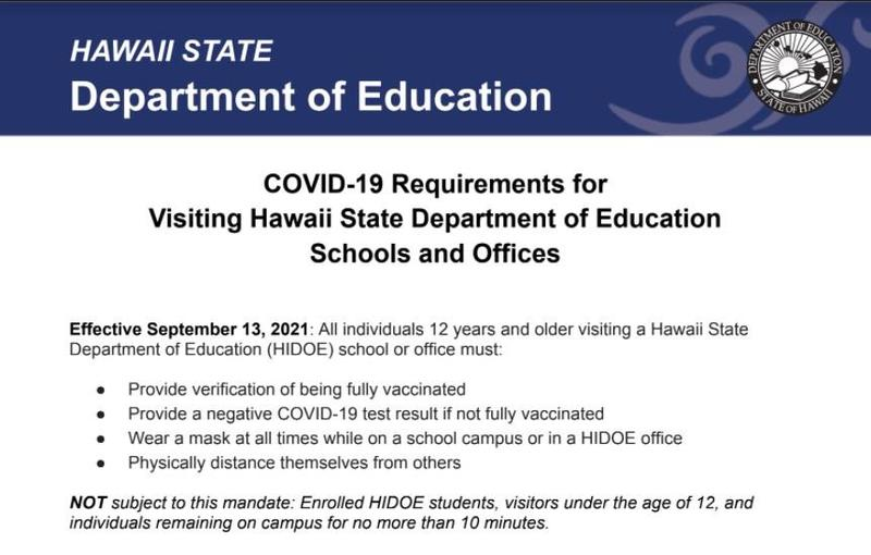 COVID-19 Requirements for Visiting HIDOE Schools & Offices