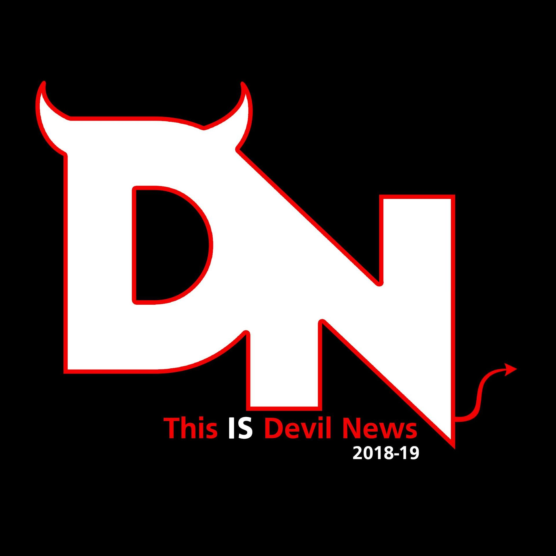 Devil News logo - A D and an N with horns