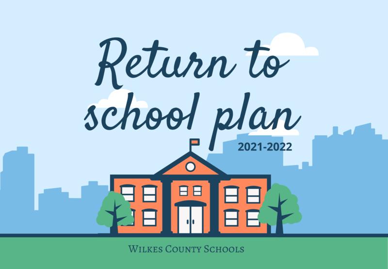 Cartoon school building with Return to School Plan written above it