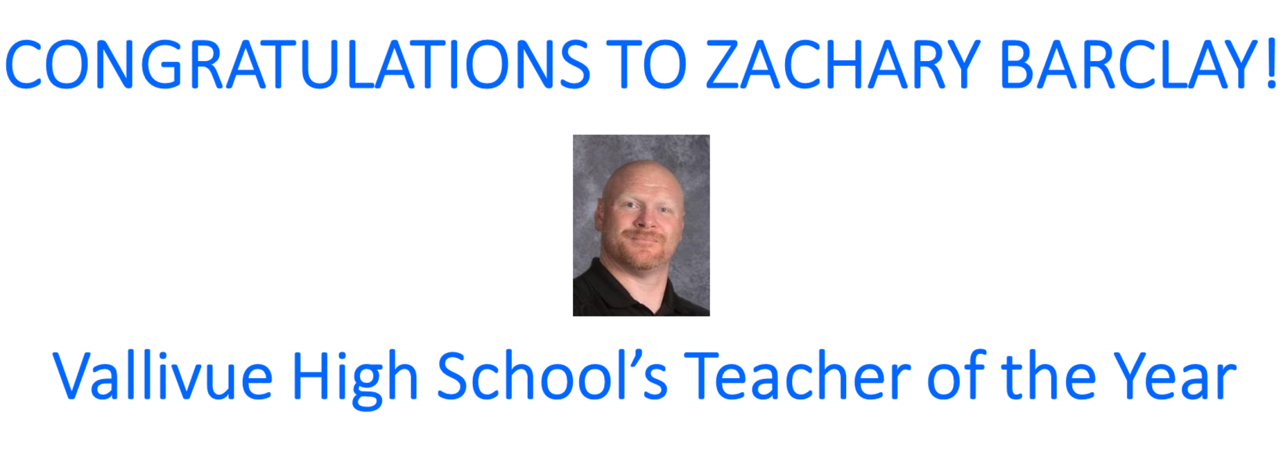 Teacher of the Year Zach Barclay