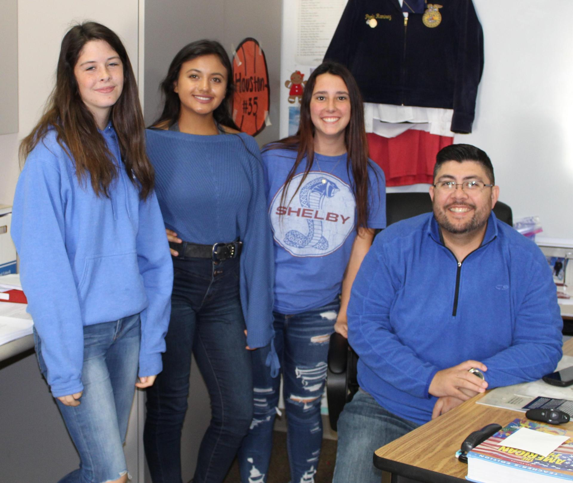Students and staff wearing light and dark blue clothing to support awareness of Colon and Prostate Cancer.