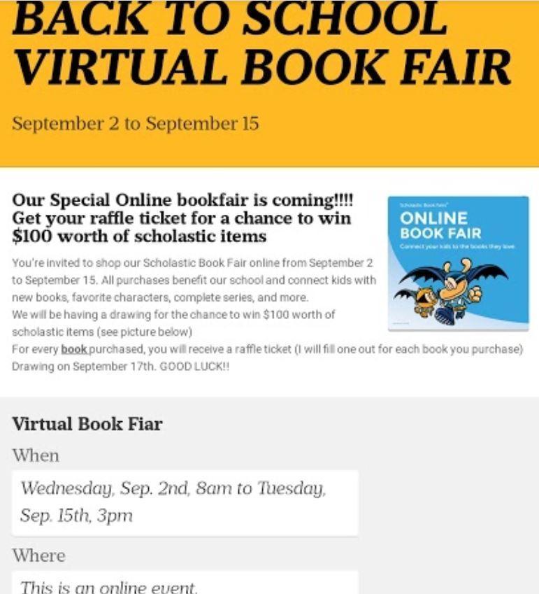 Virtual Book Fair Fall 2020 Back to School Night