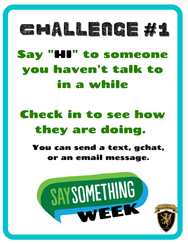 Monday, March 1st is SaySomething Challenge Day #1 Thumbnail Image