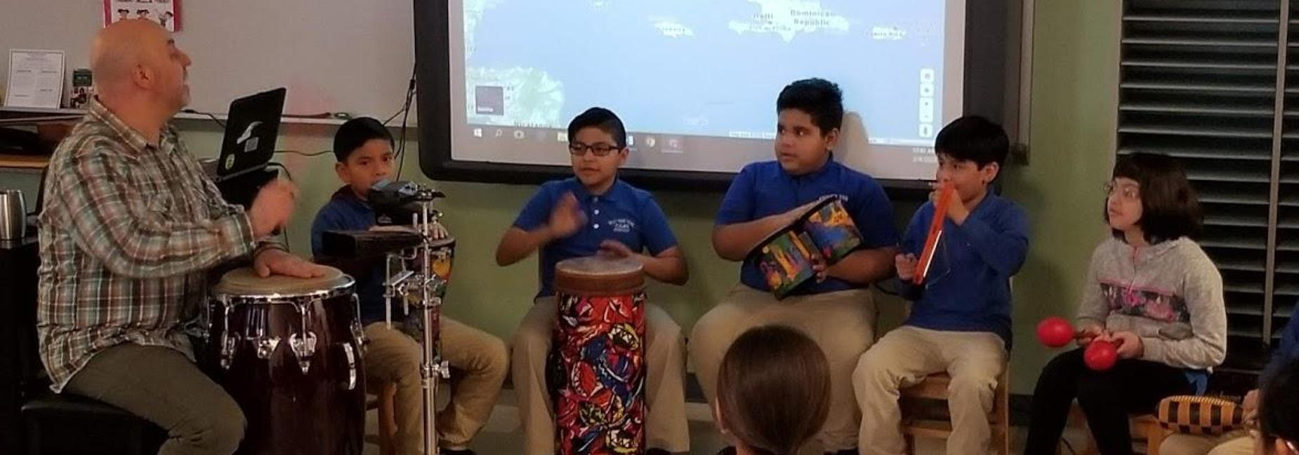 students playing music instruments