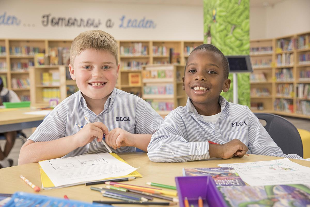 Diverse students in elementary library
