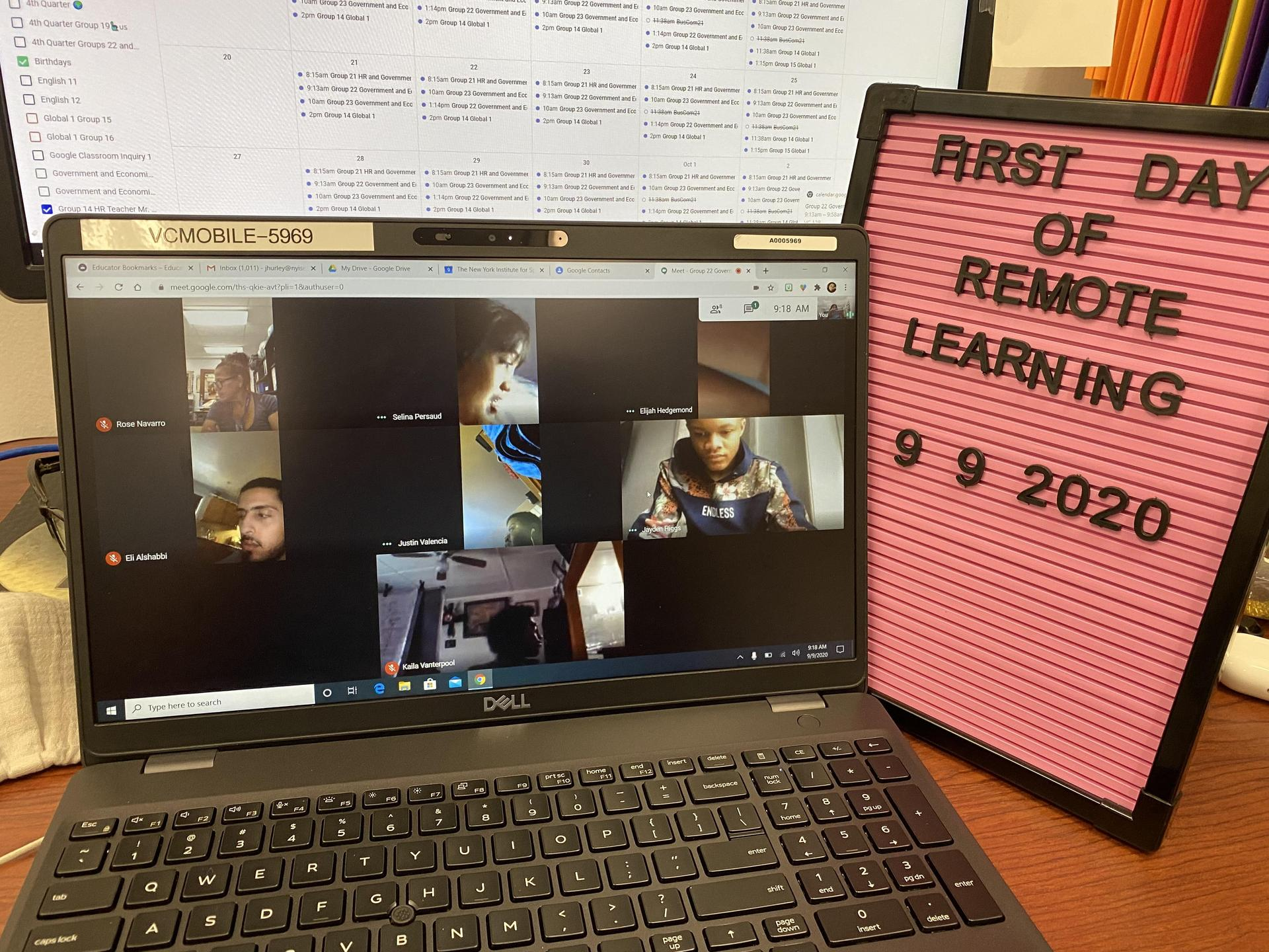 Image of a teachers zoom class on the first day of school.