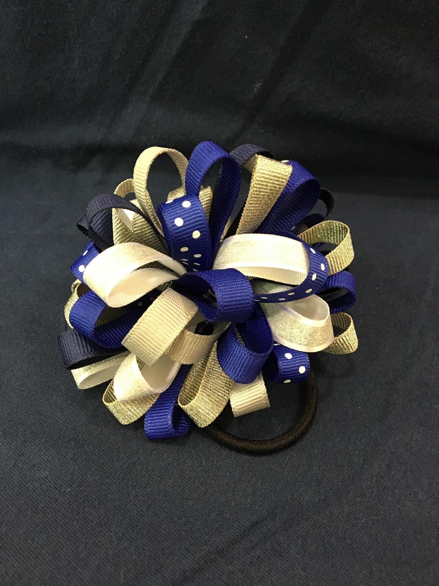 Blue & White Pom Pom Elastic Hair Tie