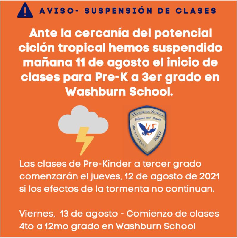 Suspensión de Clases Por Paso de Tormenta Tropical Miércoles 11 de Agosto de 2021 Featured Photo