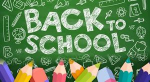 back to school chalkboard with pencils