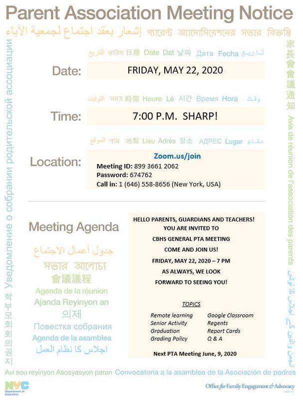 May Parent Teacher Association Meeting Featured Photo