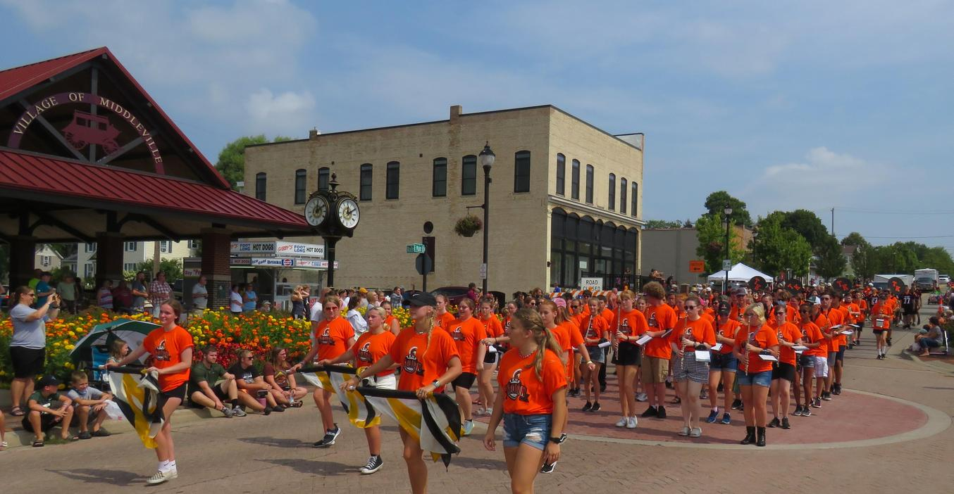 The TKHS marching band takes part in the Heritage Day parade in Middleville.