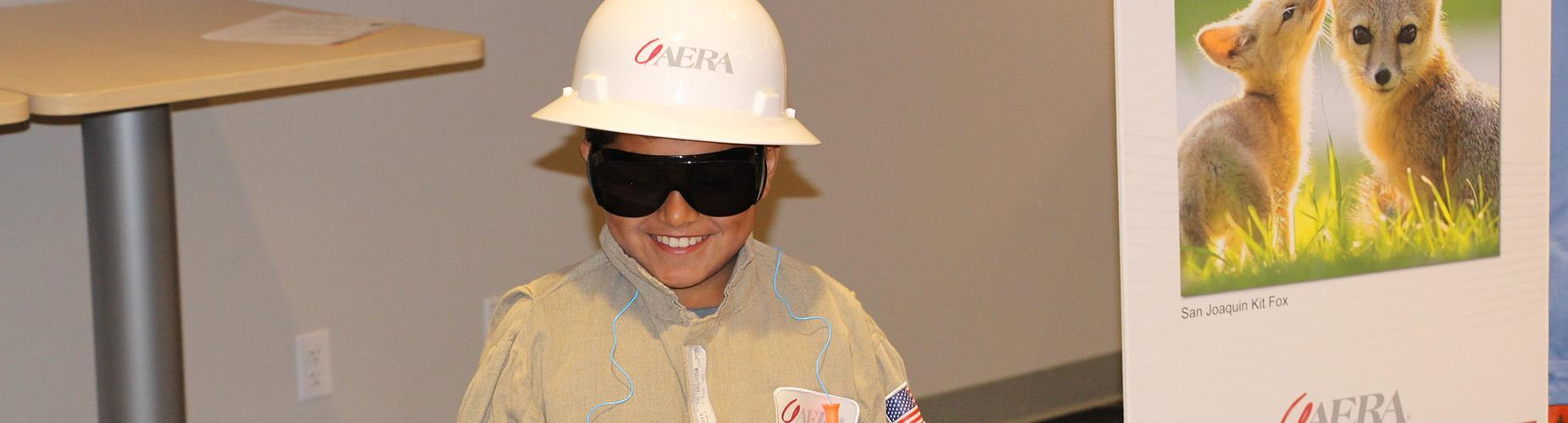 Student wearing a hard hat