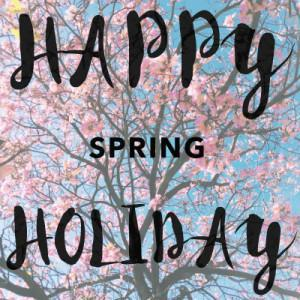 The word Happy Spring Holiday and flowers around it