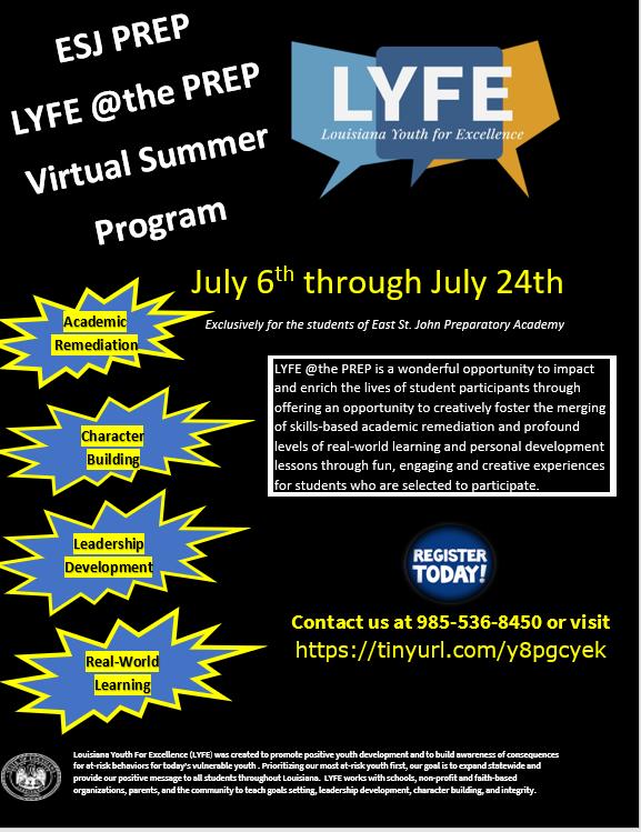 LYFE @ THE PREP VIRTUAL SUMMER CAMP REGISTRATION Thumbnail Image