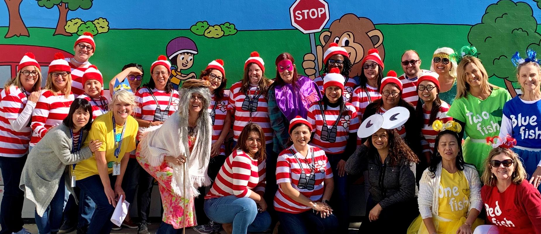 Staff dressed up as Waldo or Dr. Seuss Fish