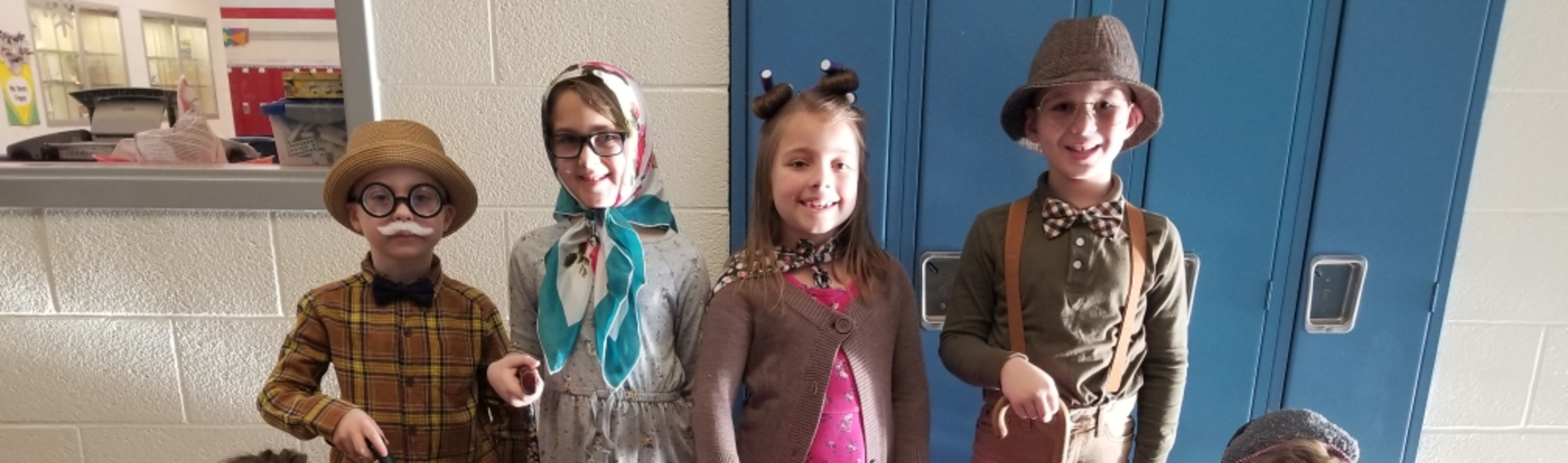 Mrs. Weyandt's first graders dressed like they were 100 years old!