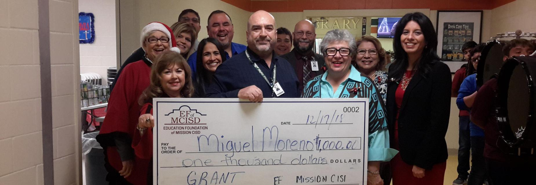 Mr. Moreno, AMJH Parent liaison receives $1,000 Mission Education Foundation grant