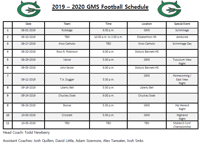 2019-2020 GMS Football Schedule