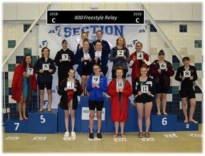Gananda's relay team takes the 400m freestyle in the Section V Championships November 2018