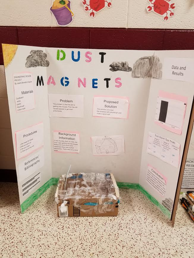 Science fair board, project on dust magnets