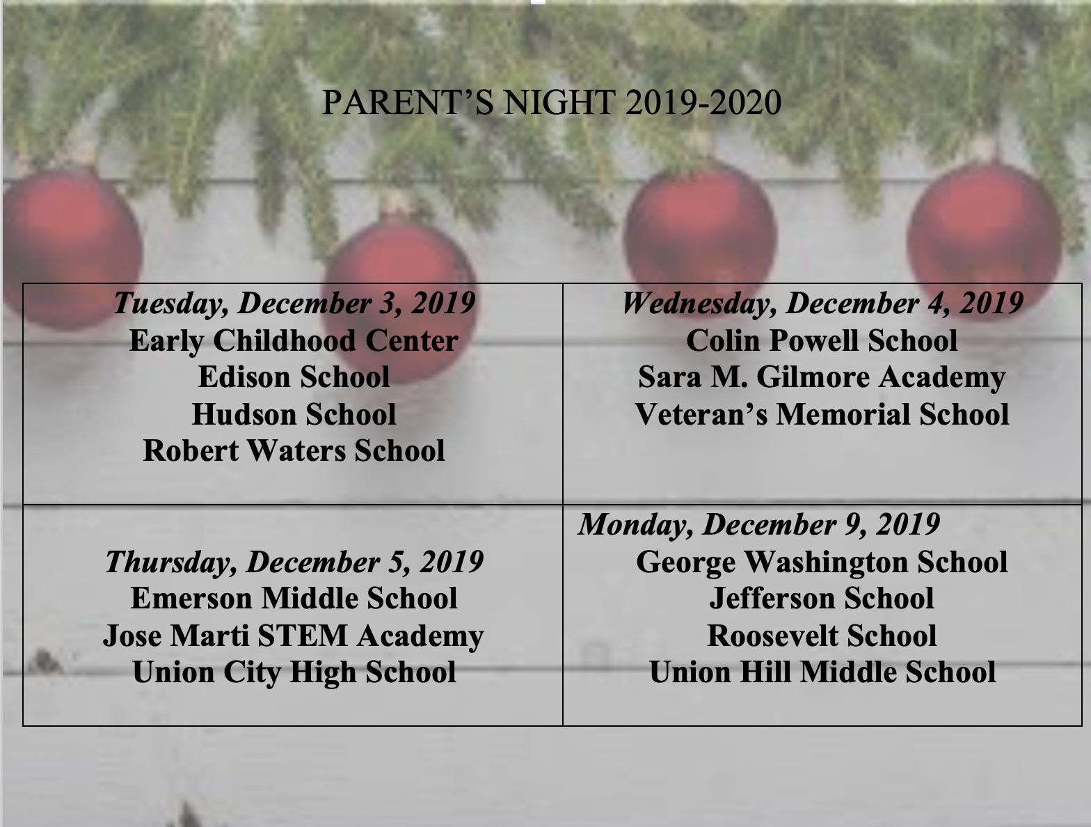 Parents Night calendar