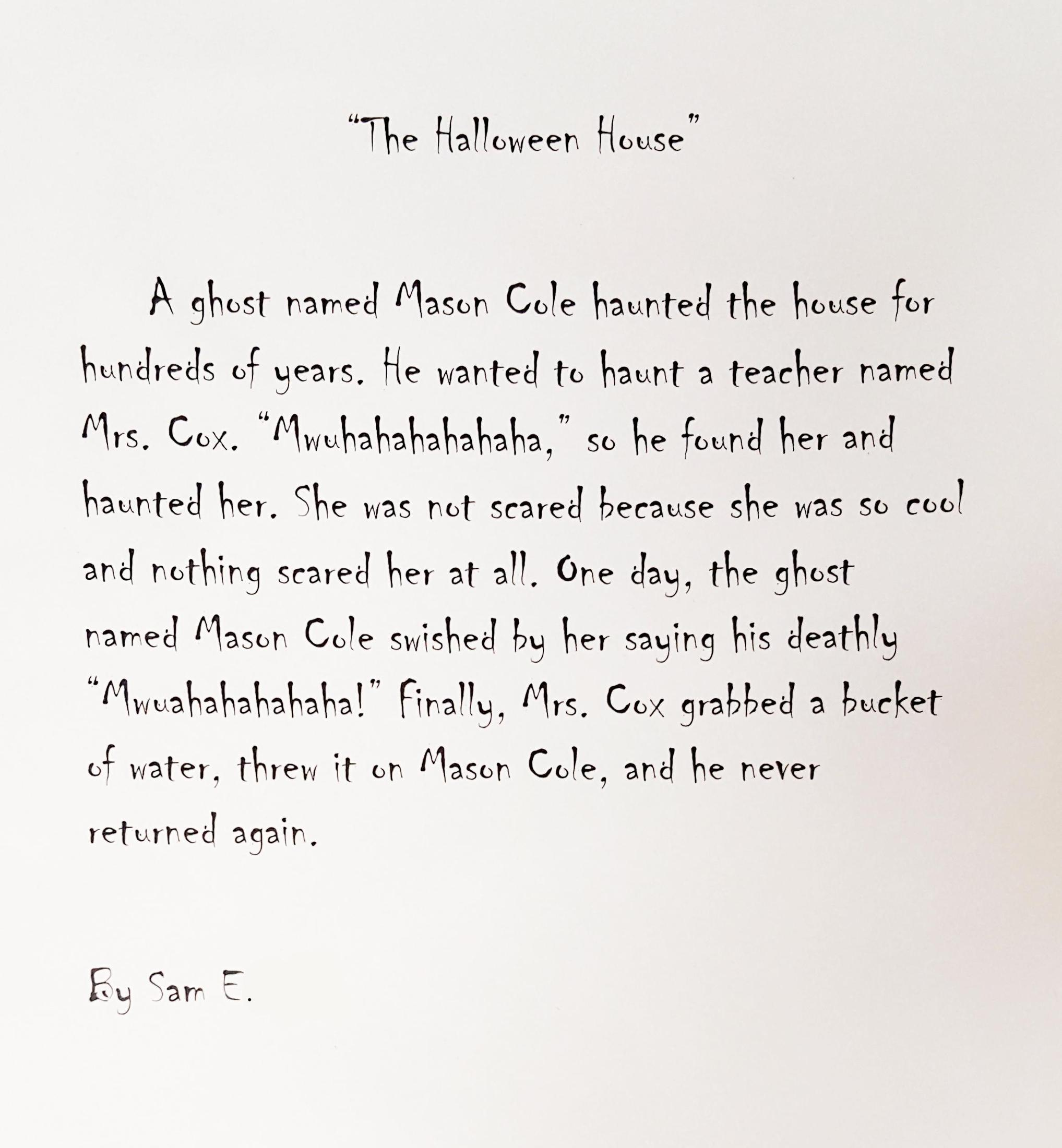 Second grader's spooky Halloween tale