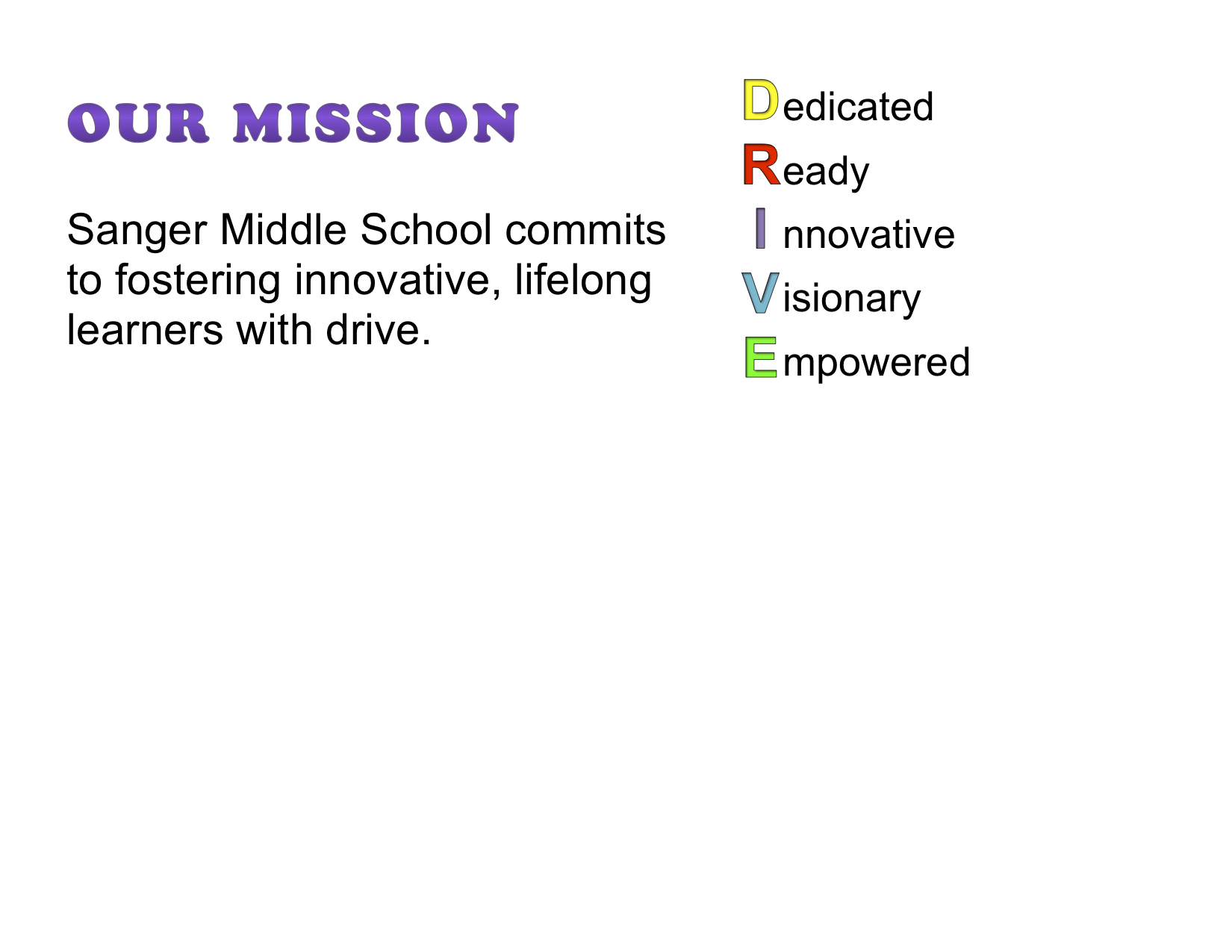 Sanger Middle School commits to fostering innovative, lifelong learners with drive