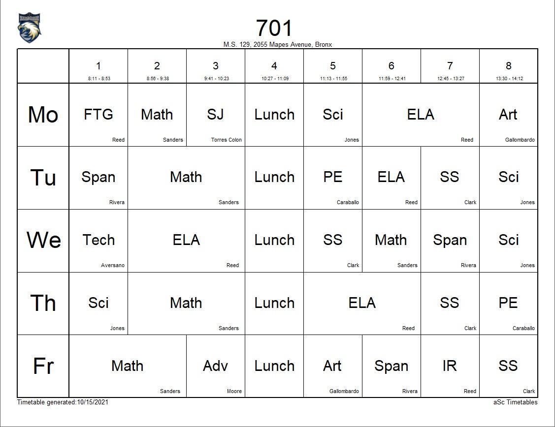 701 class schedule