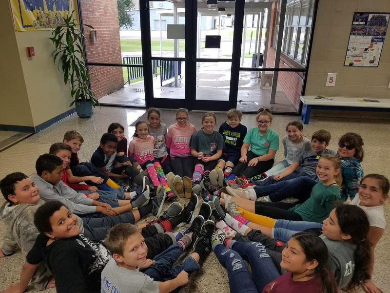 Garwood Elementary School Student's showing off their crazy socks for Red Ribbon Week