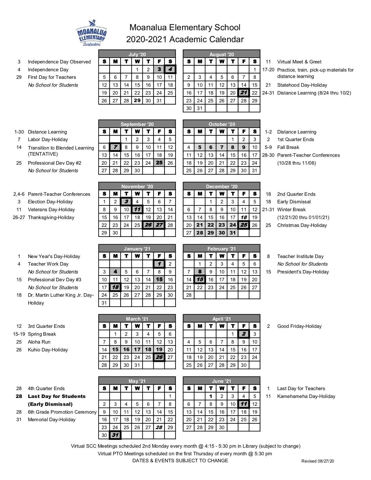 Academic calendar School Year 2020-2021