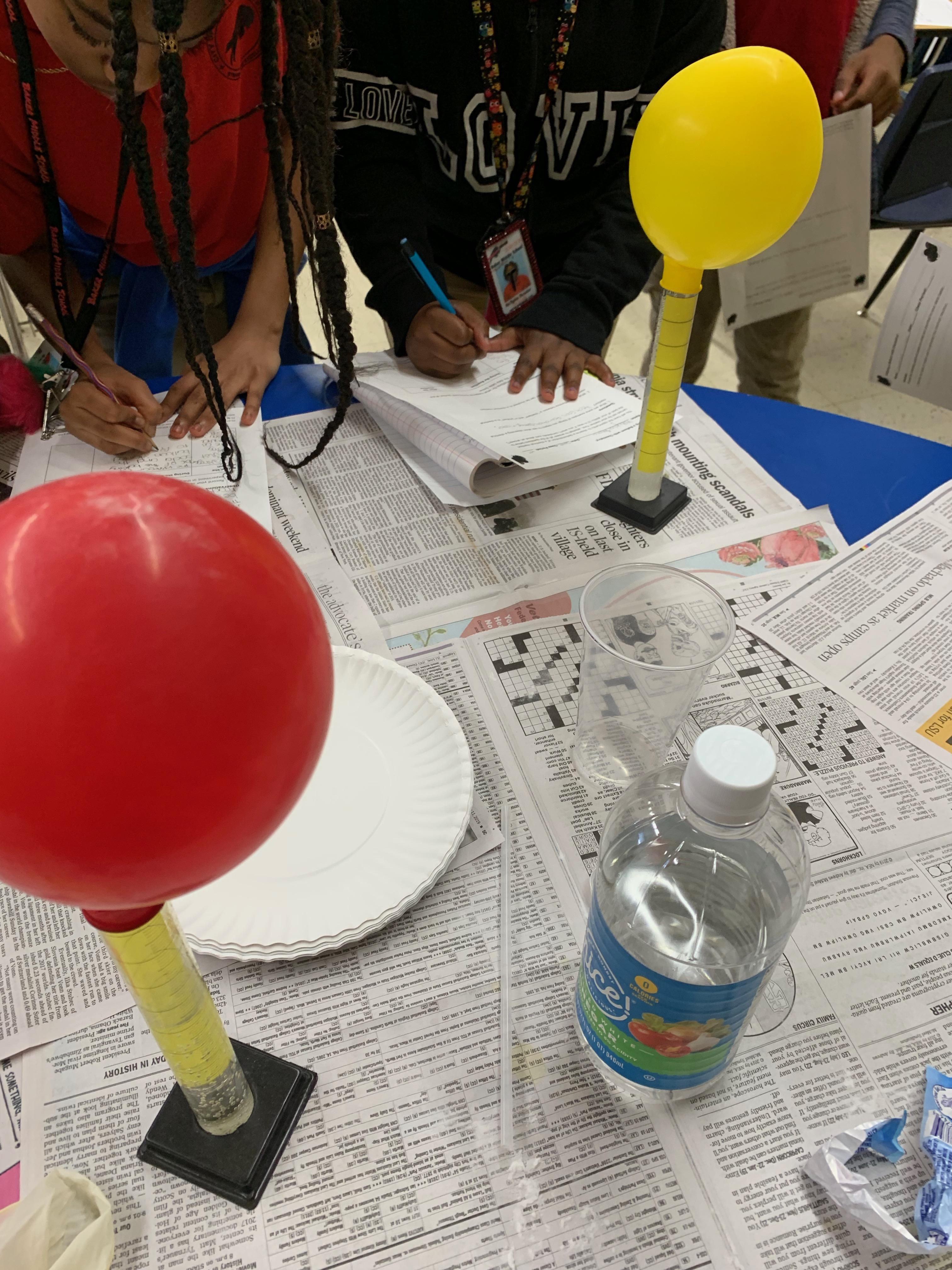 photo from Ms. Wilson's science class at Baker Middle, focus  is osmosis