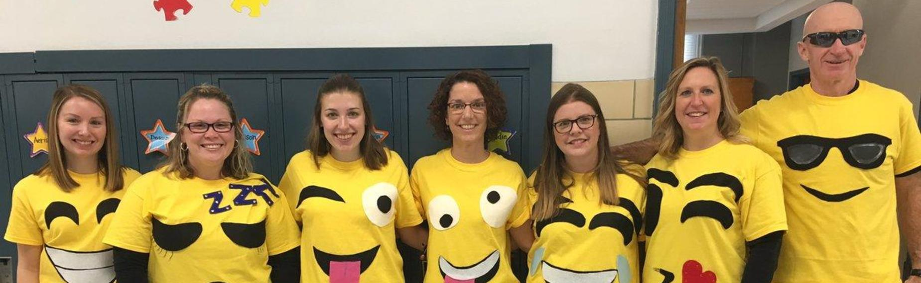 Teachers dress up as emojis for Halloween