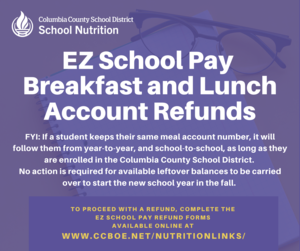 Lunch and Breakfast refund information