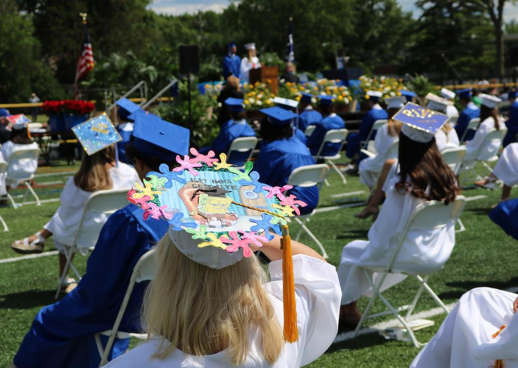 Photo of decorated cap of WHS 12th grader