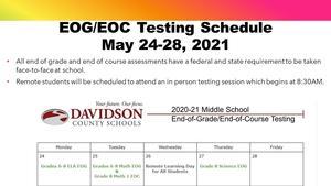EOG Testing Schedule