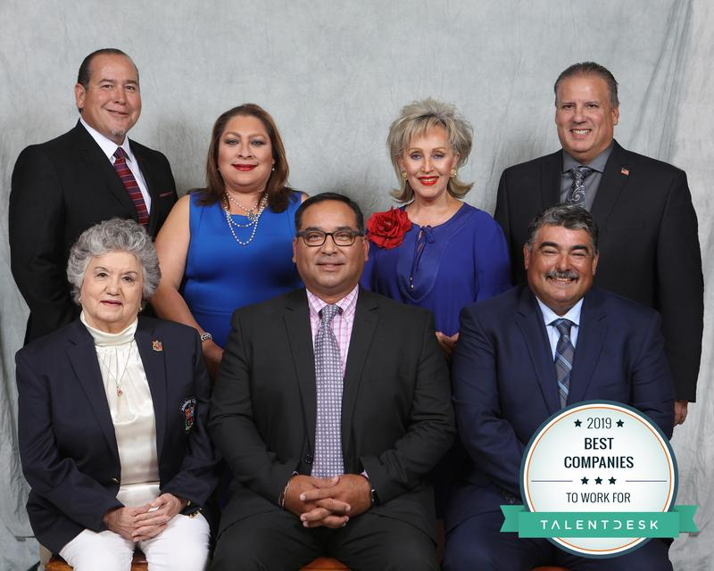 "Edinburg CISD ranked as a top-five Best Company by Talent Desk. Pictured L-R: (seated) ECISD Board Vice President Carmen Gonzalez, ECISD Board President Robert Peña, Jr. and ECISD Board Secretary Oscar Salinas; (standing) ECISD Board Member Miguel ""Mike"" Farias, ECISD Board Member Leticia ""Letty"" Garcia, ECISD Board Member Dominga ""Minga"" Vela and ECISD Board Member Xavier Salinas."