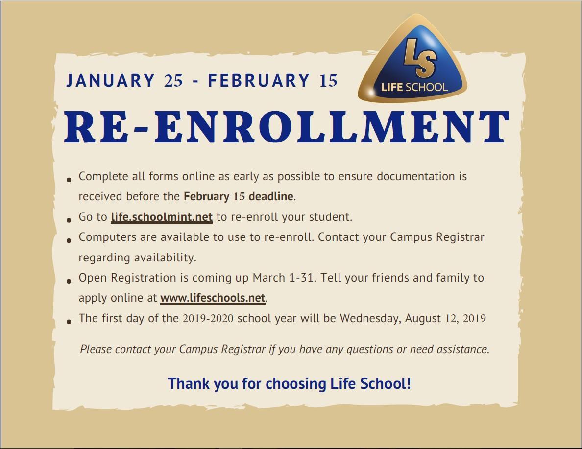 re enrollment