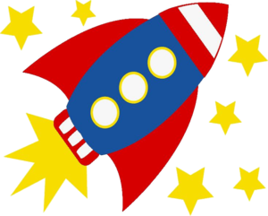 Red, white and blue cartoon rocket ship with gold stars