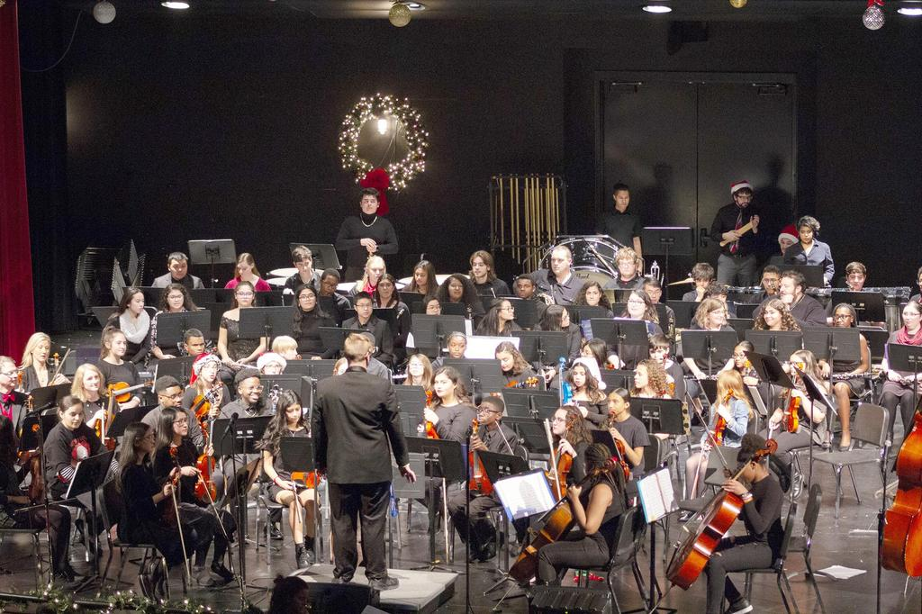 A wide view of the orchestra