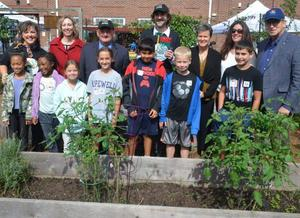 elen Corveleyn, STEM Facilitator, Hopewell Elementary School; Roberta Hodsdon, USDA Special Nutrition Programs Director; Paul Anzano, Hopewell Boro Mayor; David Friedrich, Hopewell Elementary School Principal; Beth Freehan, NJDA Farm to School Coordinator; Rose Tricario, NJDA Food and Nutrition Division Directory; NJDA Secretary Douglas Fisher. Prinicpal David Friedrich holding the trophy with Secretary Fisher on the far right.