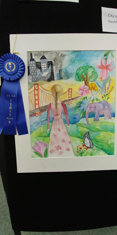 Angela Wang placed first and Fernanda Reyes placed second at the City of Santa Clarita Youth Art Showcase