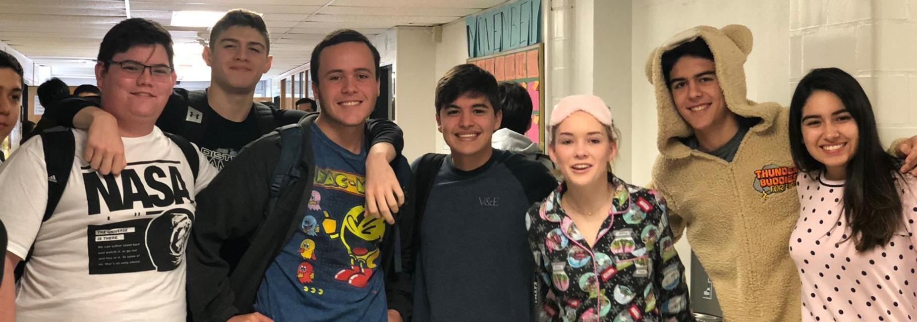 Lamar students in pj's