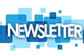 Newsletter over blue speech box images